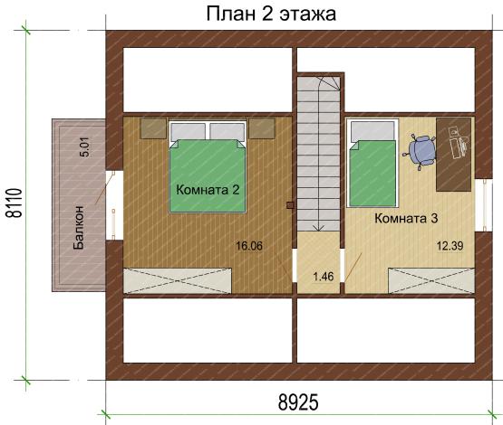 План 2 этажа-1